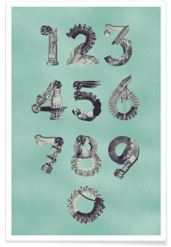 Cijfers, Retro, Steampunk Numbers 0-9 poster