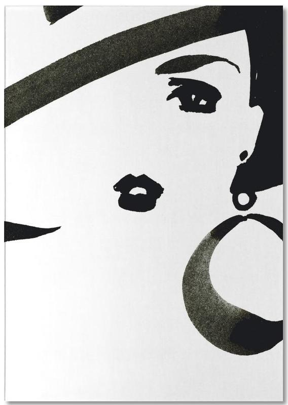 Schwarz & Weiß, Modeillustration, Face Nr. 3 -Notizblock