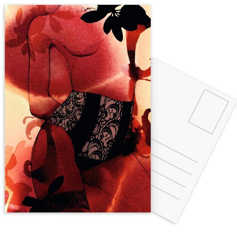 Mode-illustratie, Rouge ansichtkaartenset