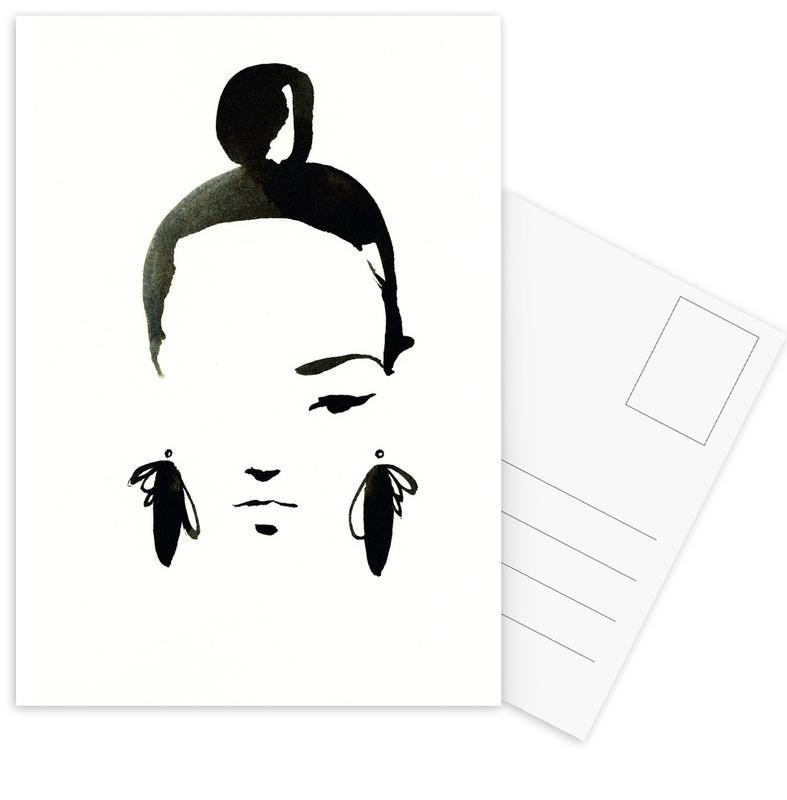 Zwart en wit, Mode-illustratie, Face Nr. 1 ansichtkaartenset