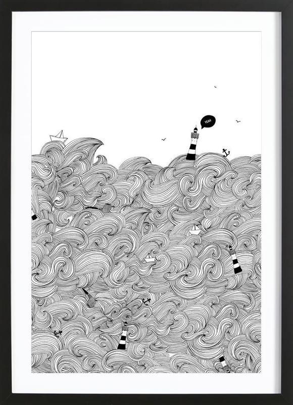 Ocean -Bild mit Holzrahmen