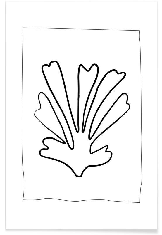 Noir & blanc, Feuilles & Plantes, Ferns affiche