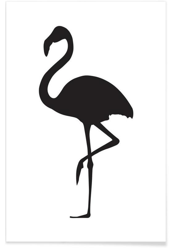 Noir & blanc, Flamants roses, Flamingo affiche