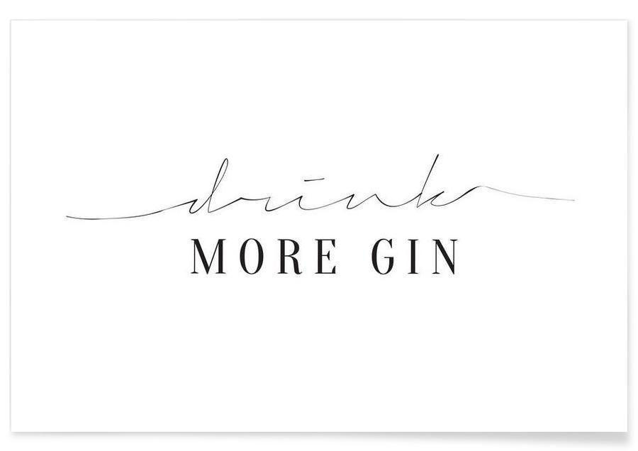 Sort & hvidt, Drink More Gin Plakat