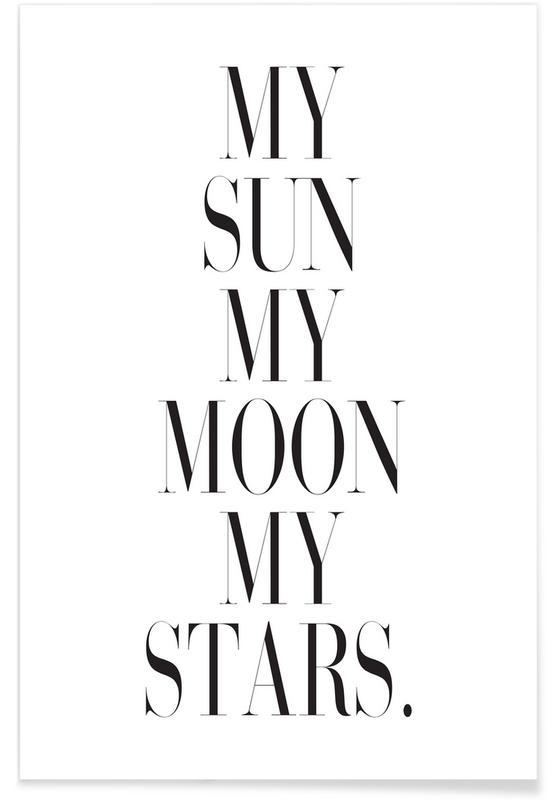 Zwart en wit, Liefdescitaten, Trouwen en bruiloften, Valentijnsdag, My Sun My Moon poster