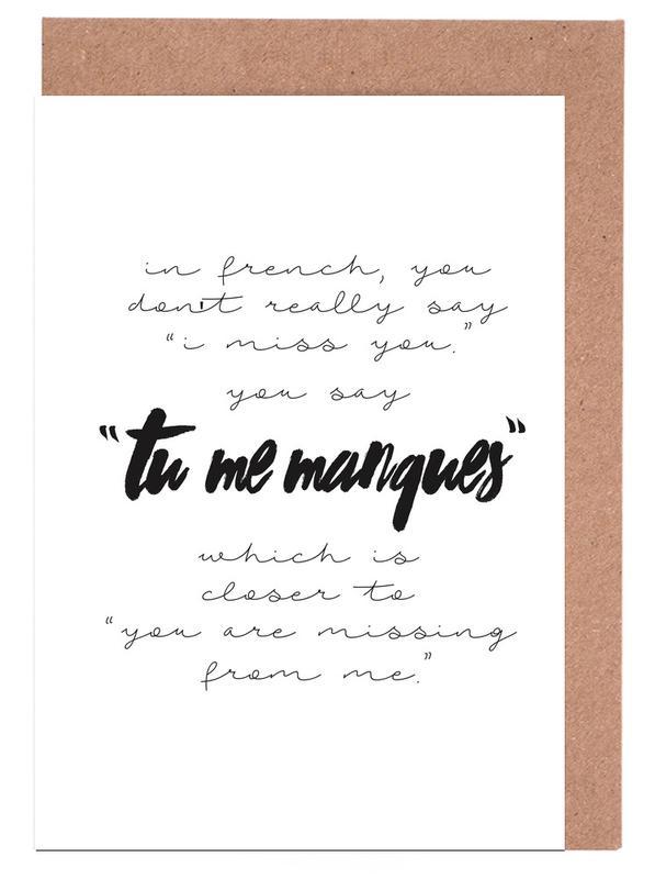 Tu Me Manques -Grußkarten-Set
