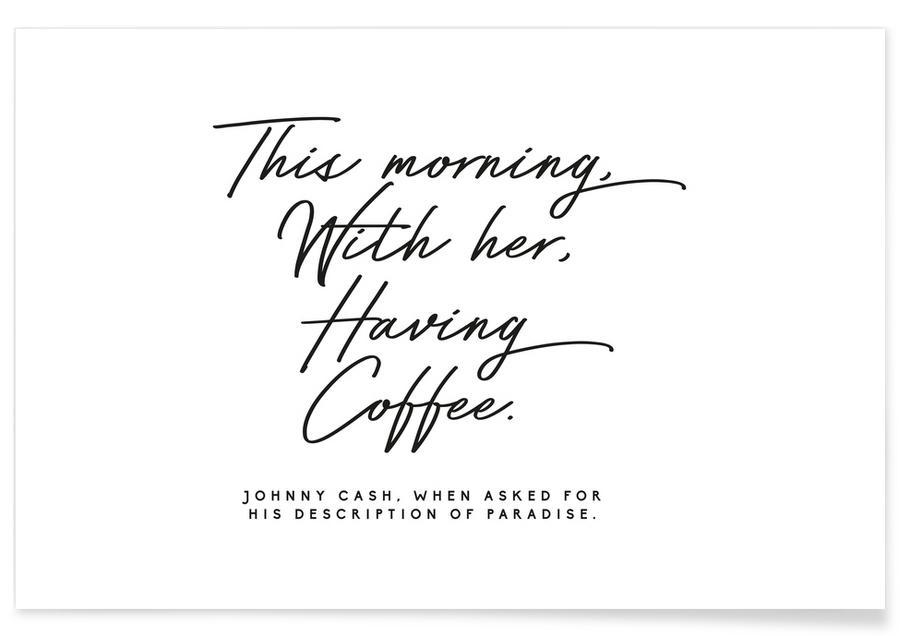 Citations d'amour, Noir & blanc, Saint-Valentin, Citation de Johnny Cash affiche