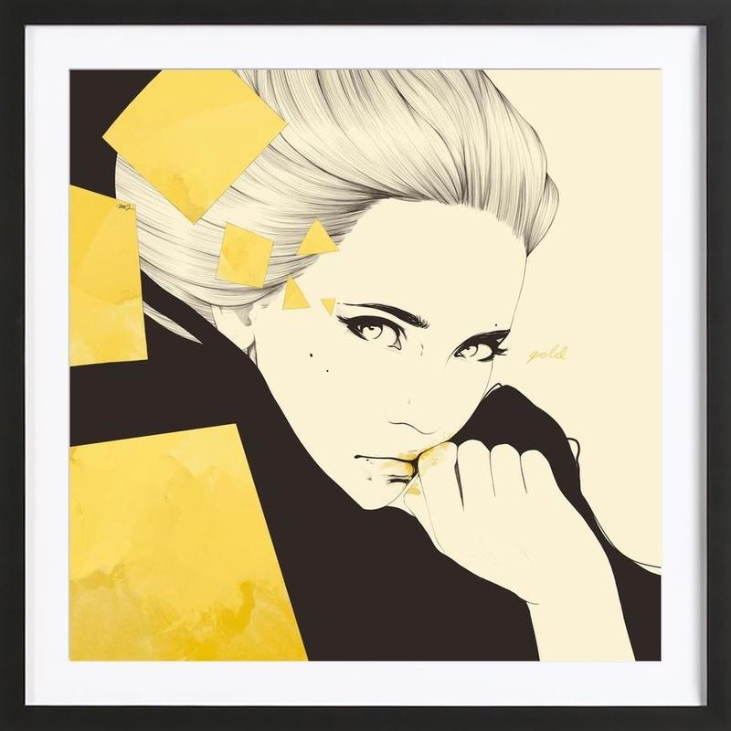 Gold -Bild mit Holzrahmen