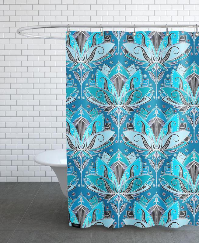Art Deco Teal Lotus Pattern Shower Curtain