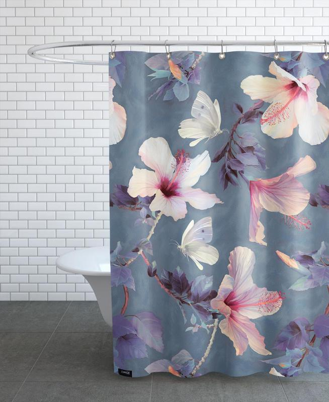Butterflies & Hibiscus Flowers Shower Curtain