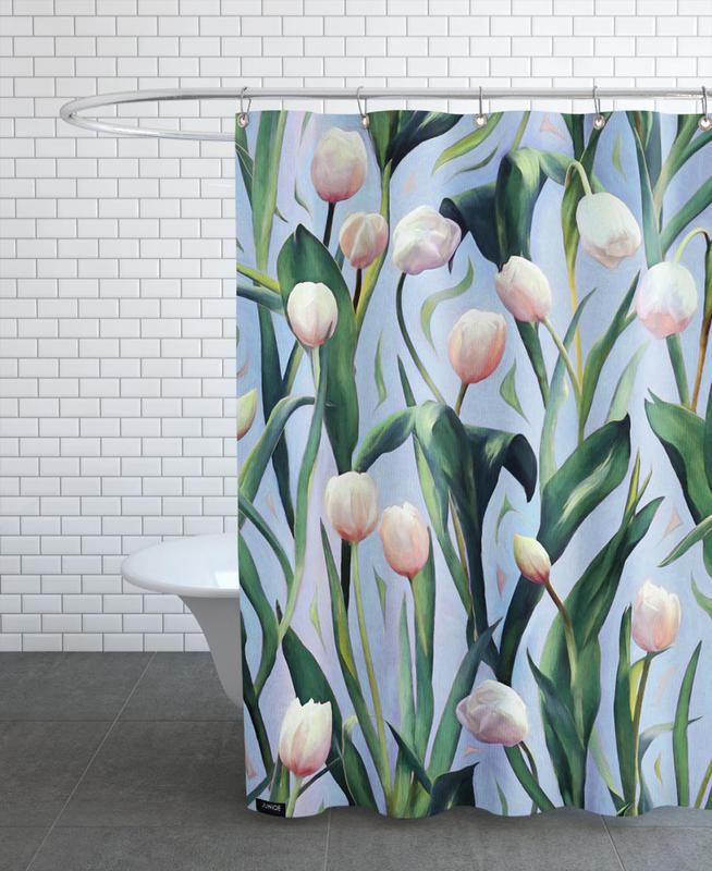 Tulips, Waiting On The Blooming – Tulip Pattern Shower Curtain