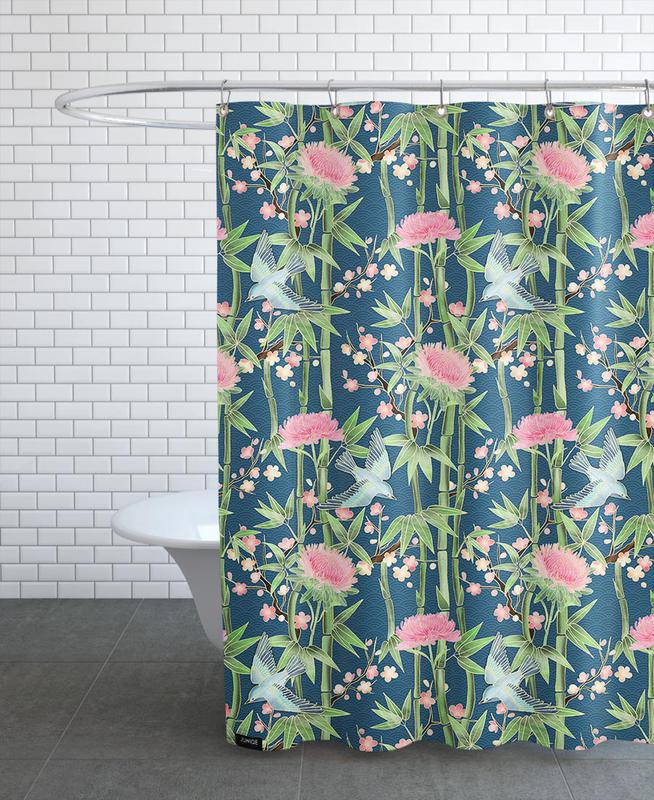 Bamboo Birds and Blossom Teal Shower Curtain