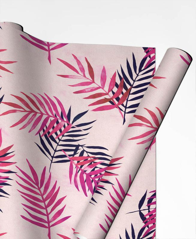 Leaves & Plants, Pink Palm Pattern Gift Wrap