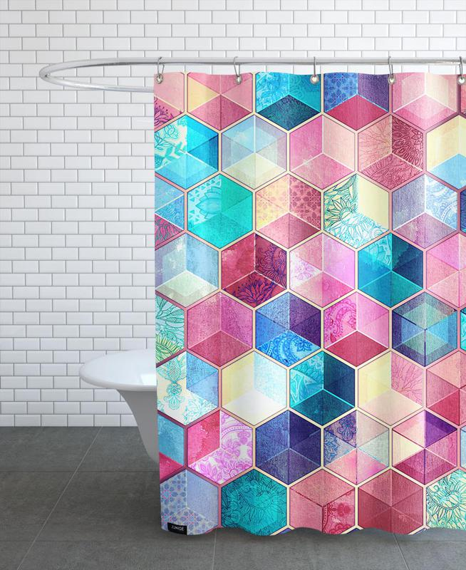 Patterns, Topaz And Rubey Crystal Honeycomb Cubes Shower Curtain
