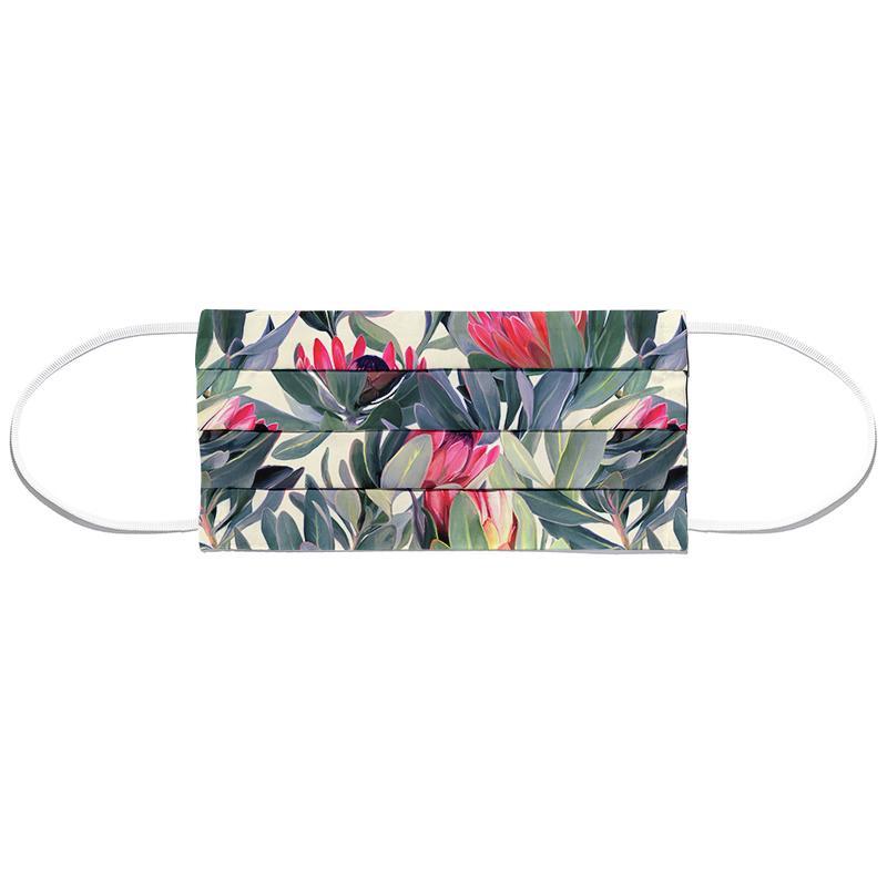 Painted Protea Pattern Masque barrière en tissu