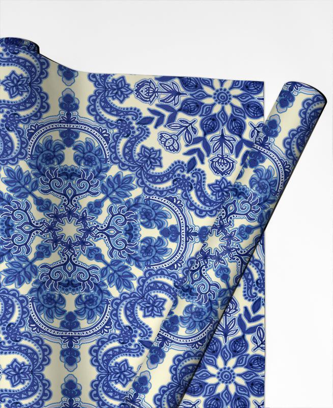 Blue & White Folk Art Pattern Gift Wrap