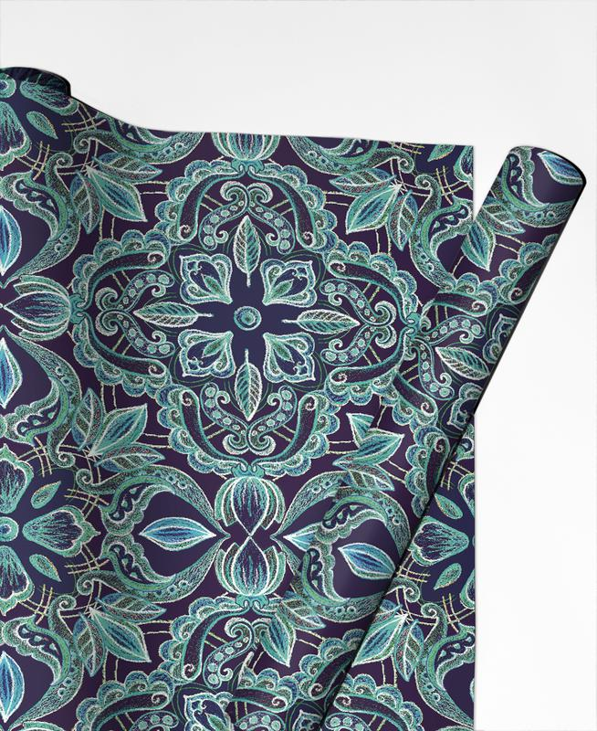 Chalkboard Floral - Teal & Navy Gift Wrap