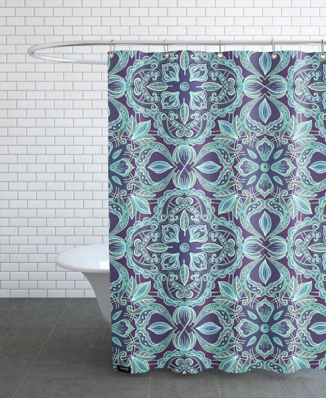 Chalkboard Floral - Teal & Navy Shower Curtain