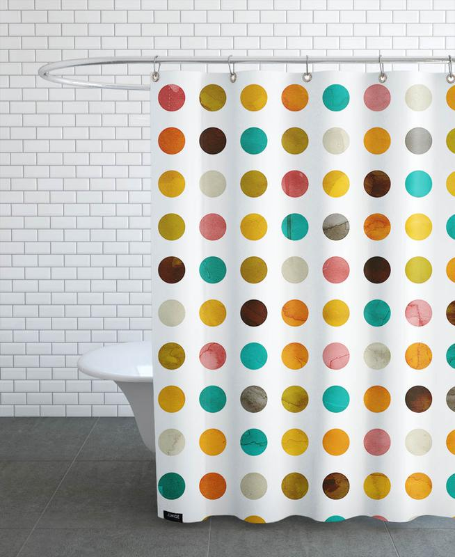 Patterns, Autumnal Polka Dot Shower Curtain