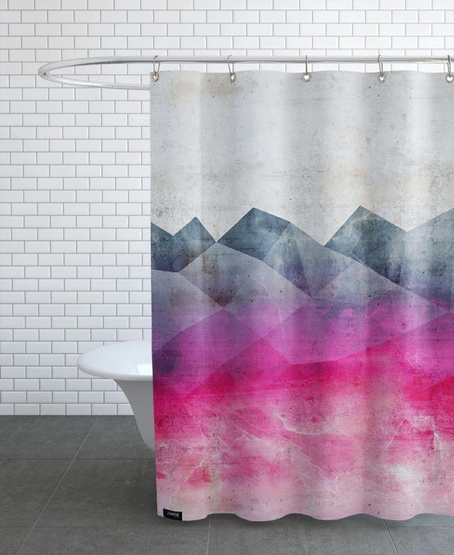 Abstract Landscapes, Pink Concrete Shower Curtain
