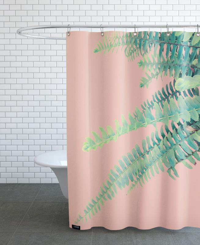 Leaves & Plants, Ferns on Blush Prints Shower Curtain