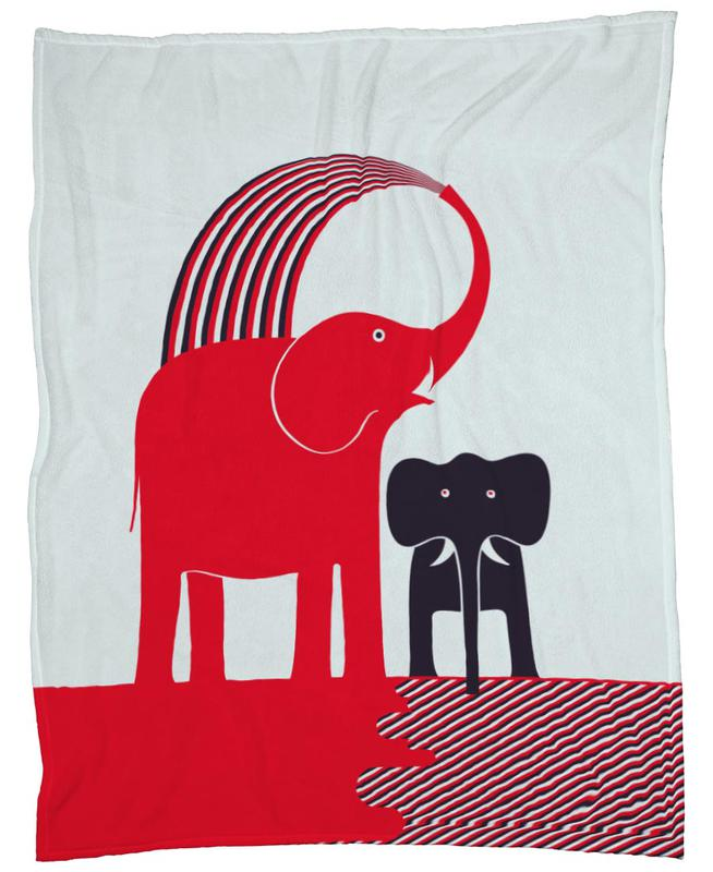Red Elephant -Fleecedecke