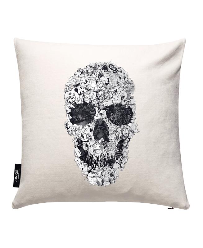 Doodle Skull BW Cushion Cover