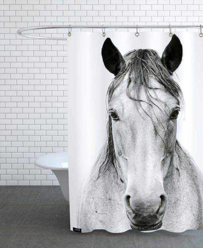 Chevaux, Noir & blanc, Horse I rideau de douche