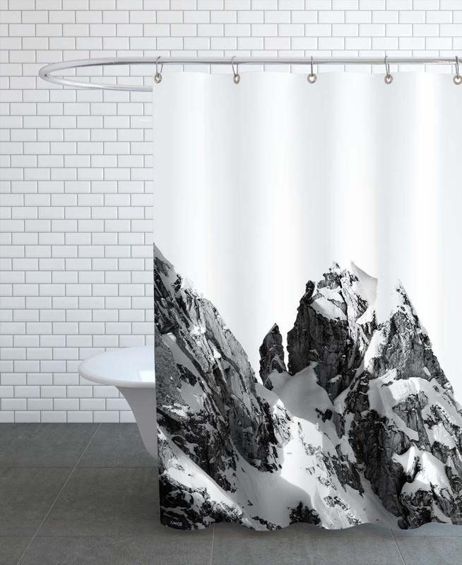 Mountains, Black & White, Peak Shower Curtain