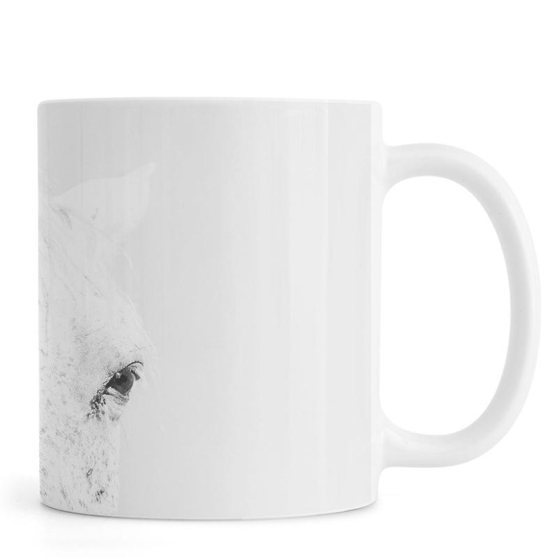 Black & White, Horses, White Horse Mug