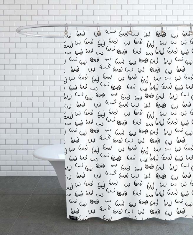 Schwarz & Weiß, Busenfreunde -Duschvorhang