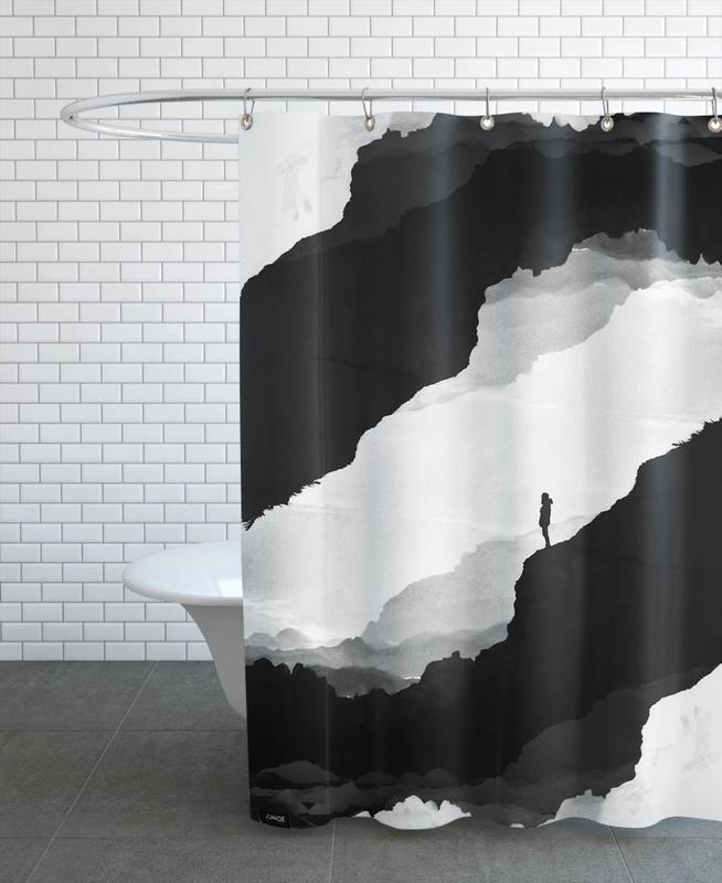 Abstract Landscapes, Black & White, White Isolation Shower Curtain
