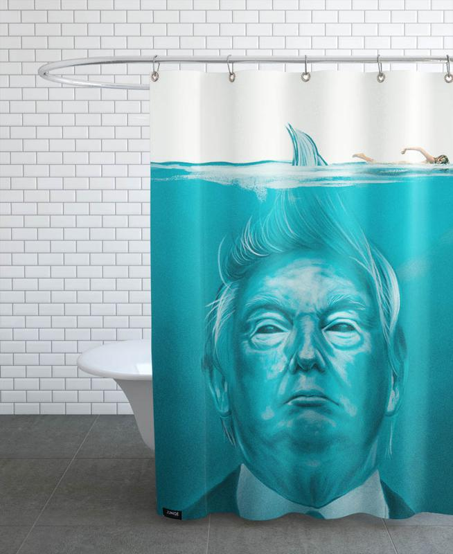 Movies, Funny, Political Figures, Trump Flat Swimmer Shower Curtain