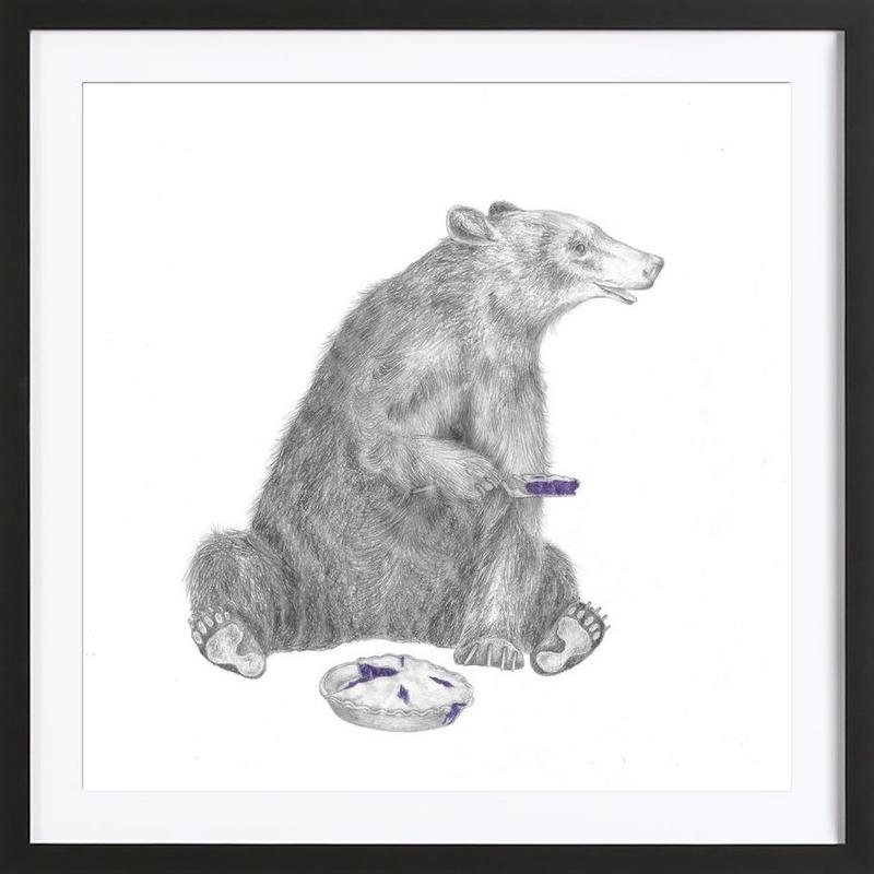 Albert Finnegan Black Bear -Bild mit Holzrahmen