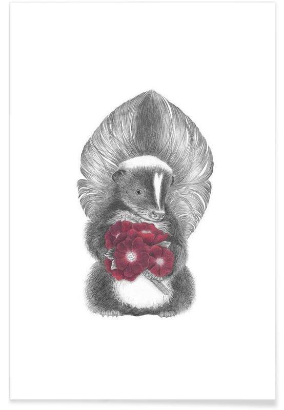 , Skunk Drawing Plakat