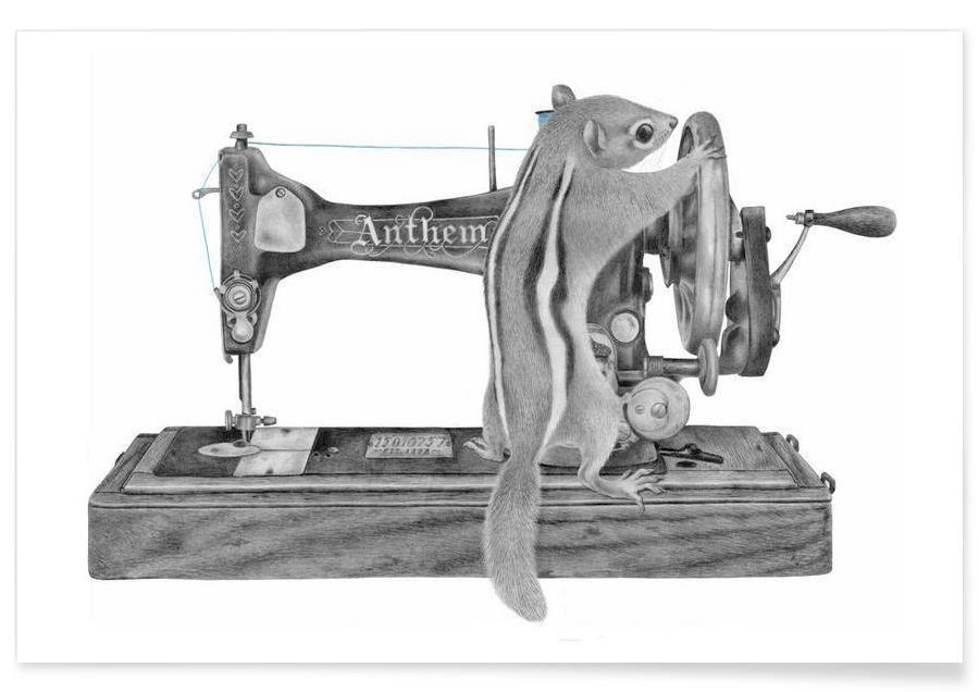 Ecureuils, Noir & blanc, Machine à coudre - Dessin affiche
