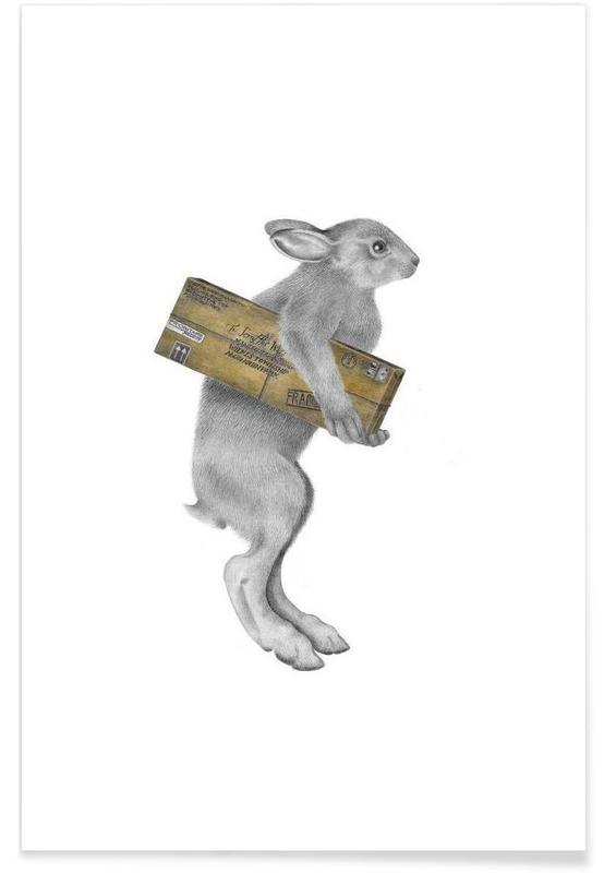 Kaniner, Rabbit Drawing Plakat