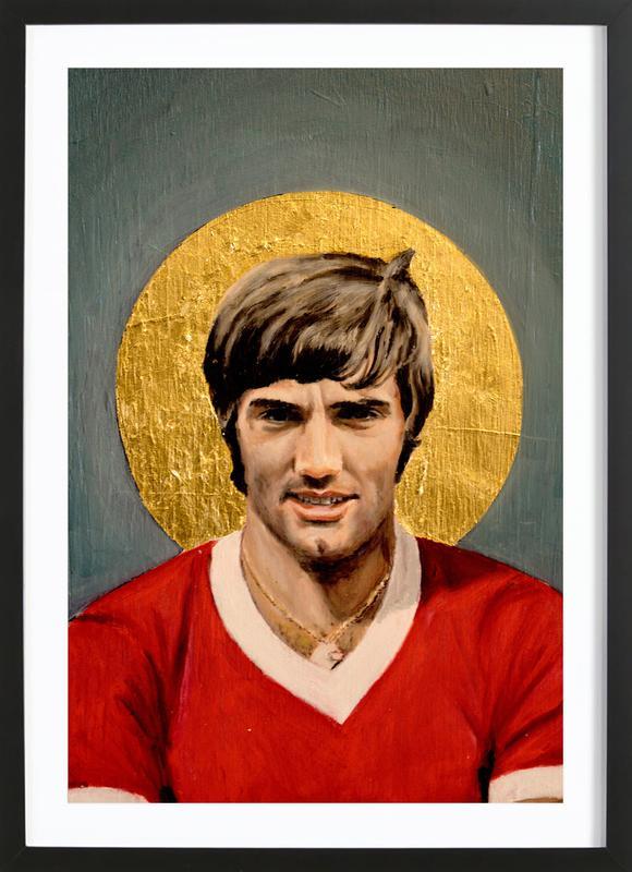 Football Icon - George Best -Bild mit Holzrahmen