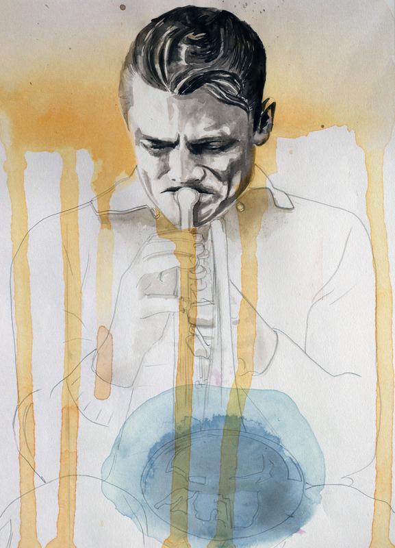 Chet Baker canvas doek