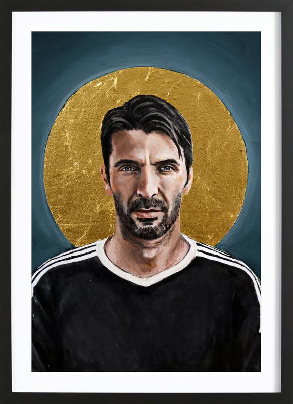 Football Icon - Buffon -Bild mit Holzrahmen