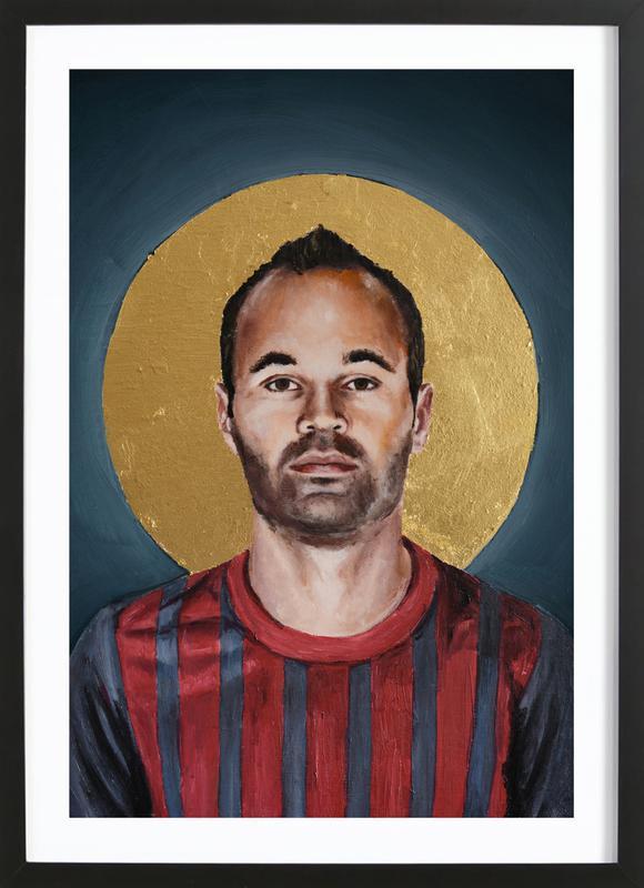 Football Icon - Iniesta -Bild mit Holzrahmen