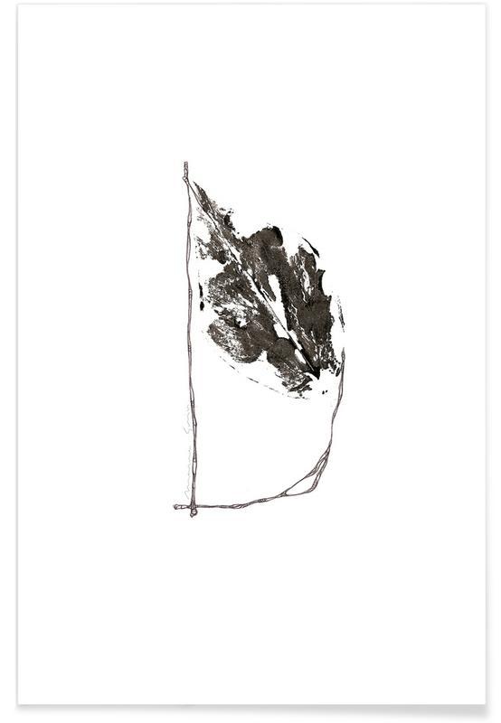 Alphabet & Letters, Black & White, Leaves & Plants, Leaf Alphabet Letter D Poster