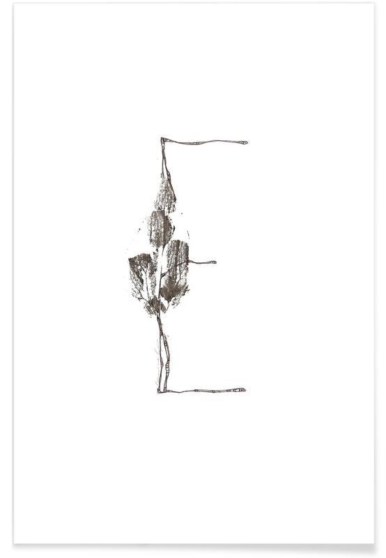 Bladeren en planten, Zwart en wit, Alfabet en letters, Bladeren alfabet letter E poster