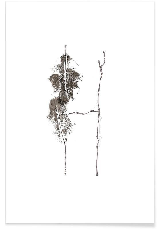 Bladeren en planten, Zwart en wit, Alfabet en letters, Bladeren alfabet letter H poster