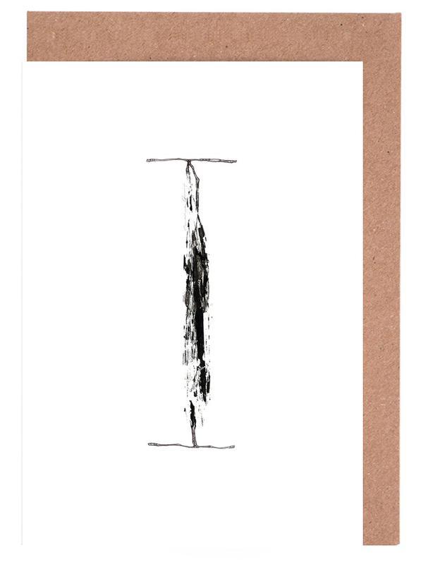 Alphabet & Buchstaben, Blätter & Pflanzen, Schwarz & Weiß, I -Grußkarten-Set