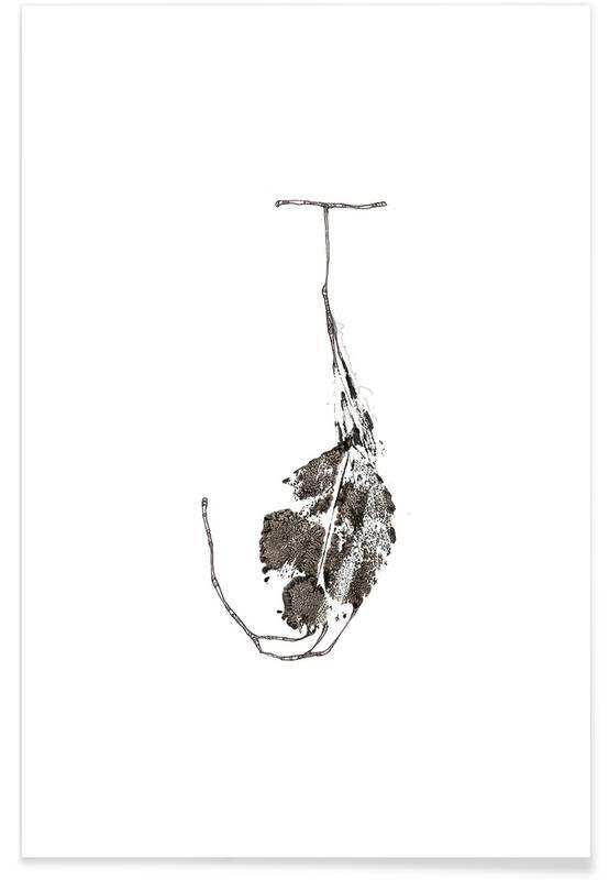 Alphabet & Letters, Black & White, Leaves & Plants, Leaf Alphabet Letter J Poster