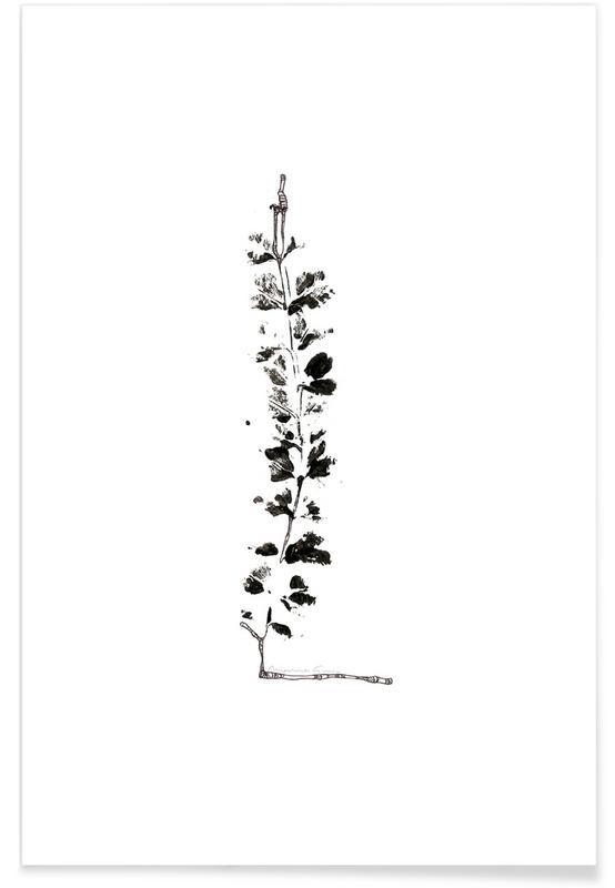 Bladeren en planten, Zwart en wit, Alfabet en letters, Bladeren alfabet letter L poster