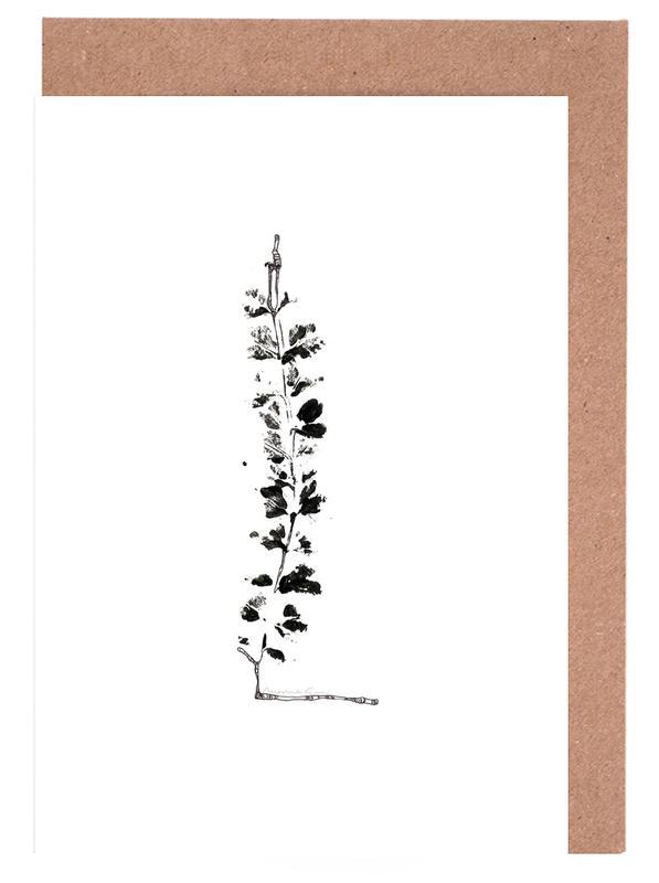 Alphabet & Buchstaben, Blätter & Pflanzen, Schwarz & Weiß, L -Grußkarten-Set