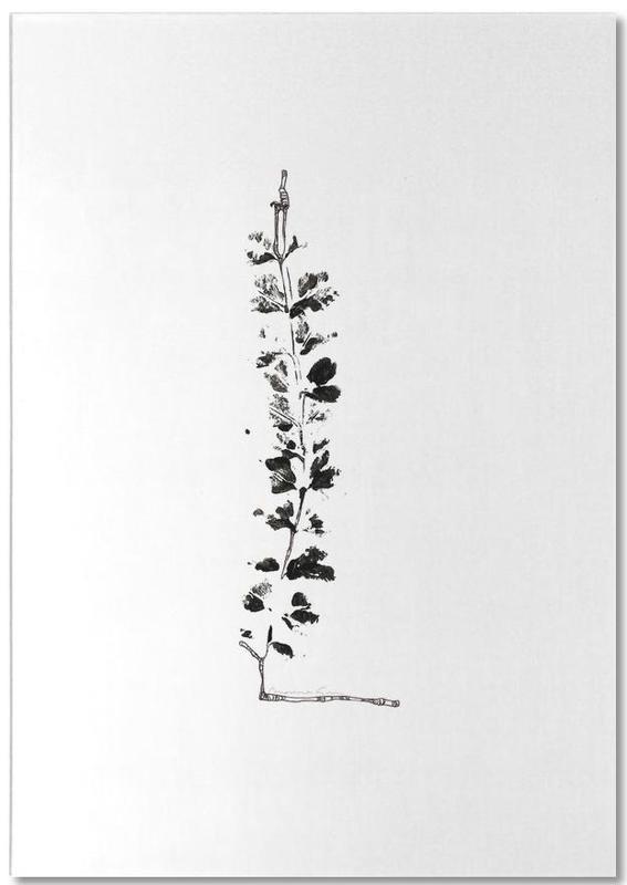 Black & White, Leaves & Plants, Alphabet & Letters, L Notepad