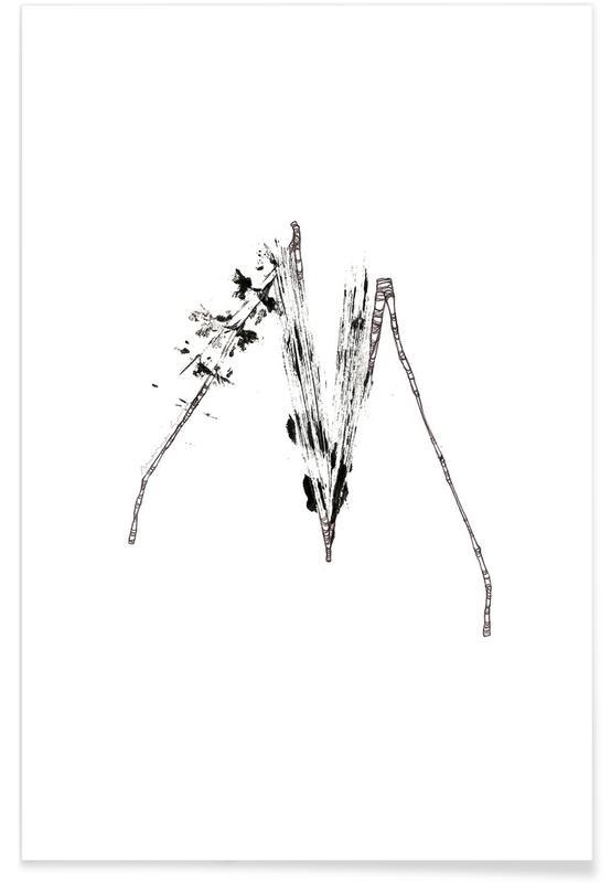 Bladeren en planten, Zwart en wit, Alfabet en letters, Bladeren alfabet letter M poster
